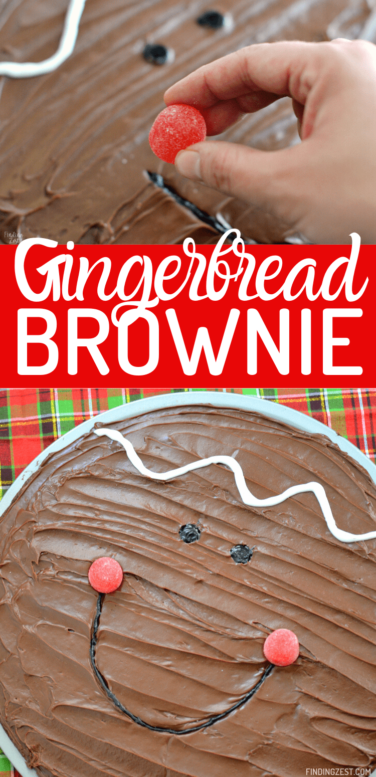 Cute Christmas brownies are extra easy when you turn a brownie mix into a brownie pizza and decorate! Make the gingerbread boy as shown or try other options like vanilla frosting to make a snowman. The possibilities are endless!