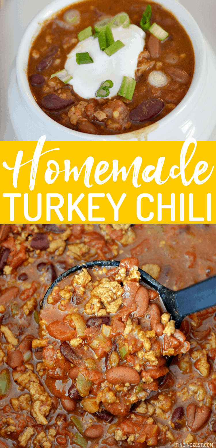 Turkey chili is easy to make and this recipe is loaded with flavor. Give this homemade chili a try for a hearty weeknight dinner solution!