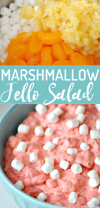 Jello Marshmallow Salad is a favorite side dish recipe for the holidays, picnics and potlucks. This marshmallow fruit salad uses Jello, canned pineapple, mandarin oranges, pudding, cool whip and marshmallows to make a refreshing and fluffy treat!