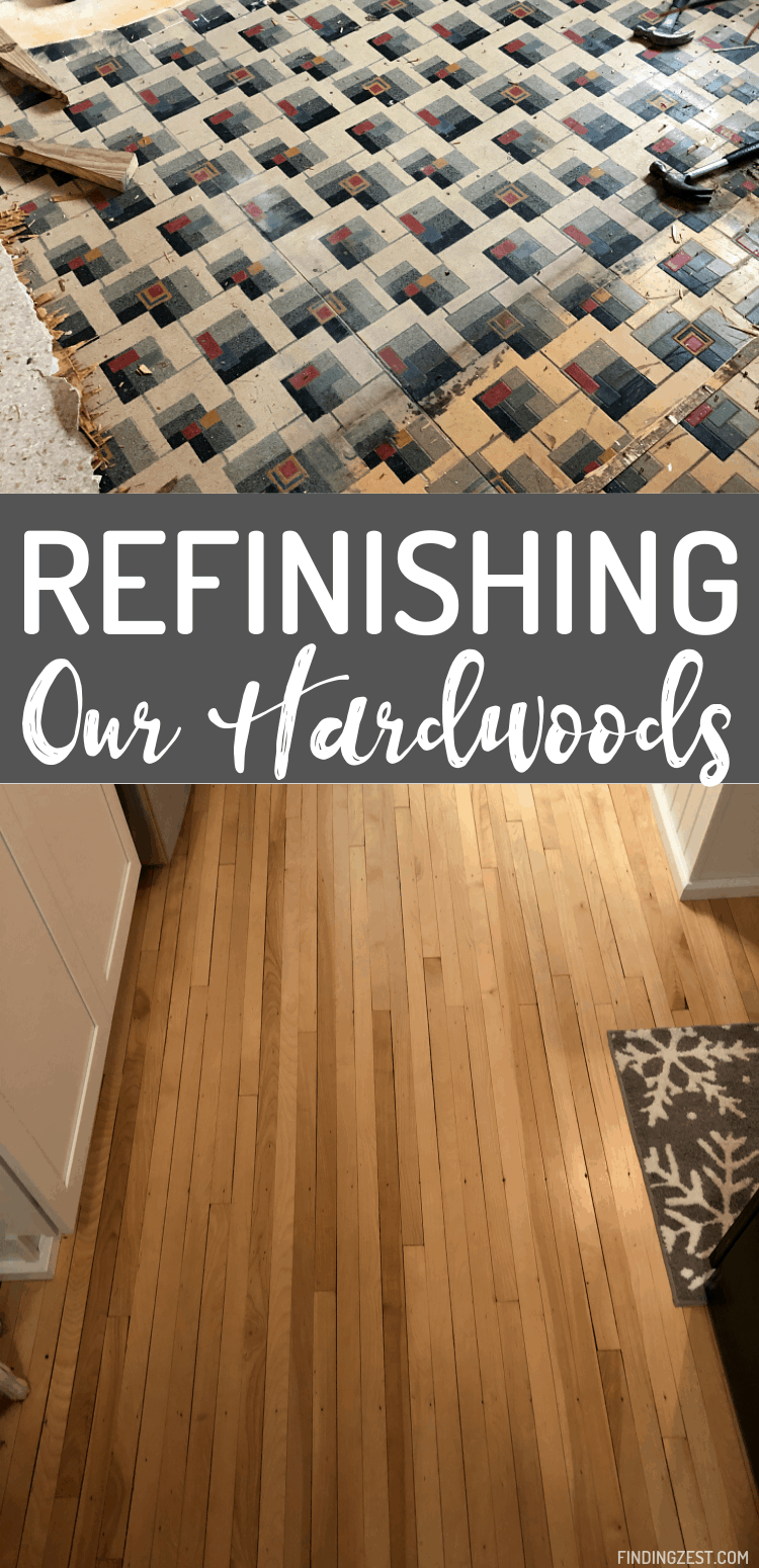 Maple Hardwood Flooring is discovered under our old linoleum during our modern farmhouse kitchen remodel. Come see the amazing before and after!