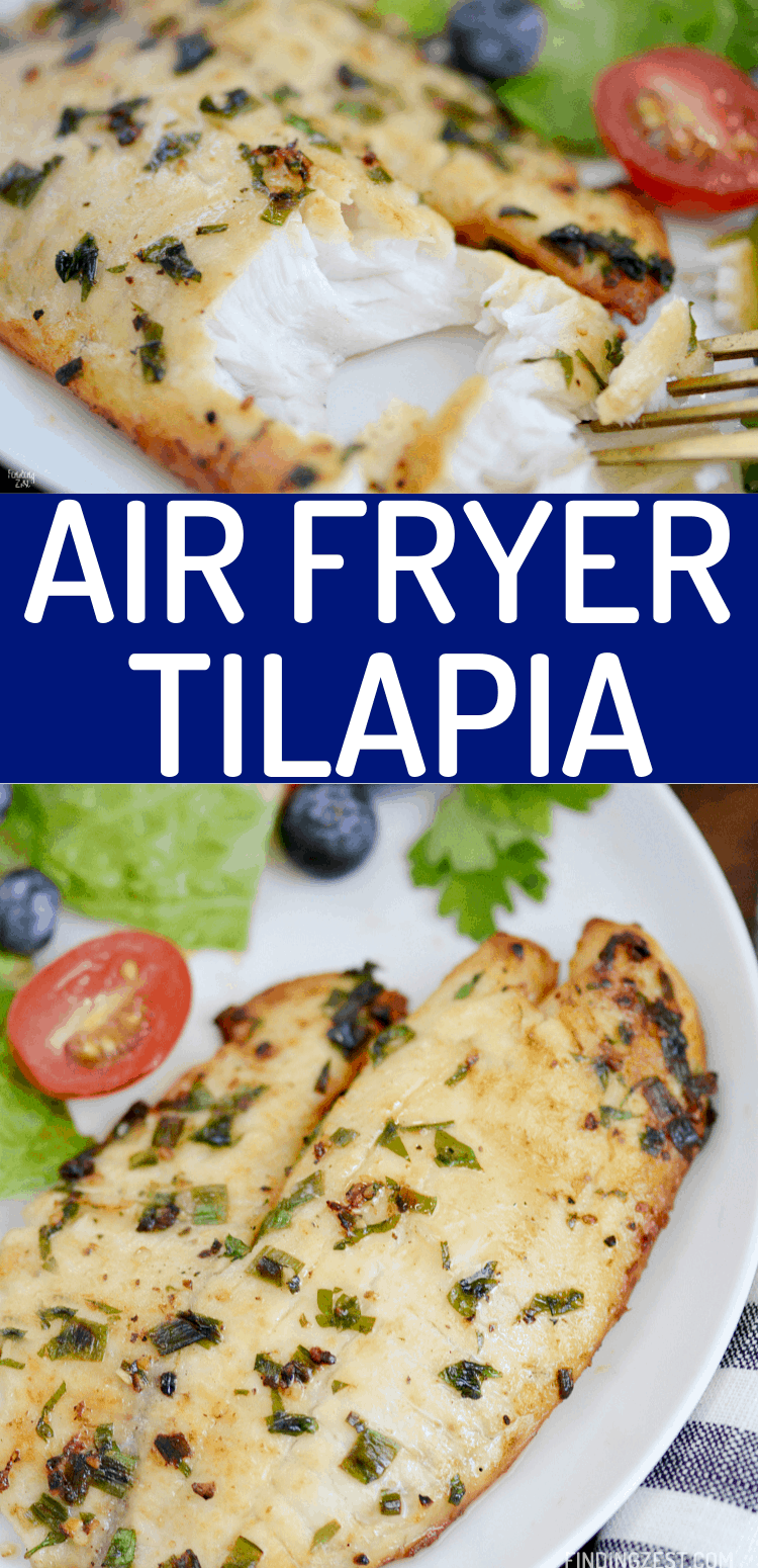 Air fryer tilapia with no breading is easy to make and still loaded with flavor! This healthy tilapia recipe results in golden brown and flaky fish you won't be able to resist. Get dinner on the table in under 15 minutes with this easy weeknight dinner idea!