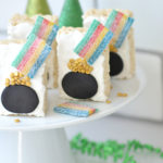 Pot of Gold Rice Krispie Treat with gold confetti and rainbow sour belts