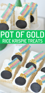 A pot of gold is at the end of the rainbow with this cute St. Patrick's Day treat! Using purchased Rice Krispie Cereal Treats means you can focus on the decorating. Featuring rainbow sour belts, gold confetti sprinkles, candy melts and fondant, this pot of gold rainbow dessert is a colorful way to celebrate St. Patrick's Day with kids!