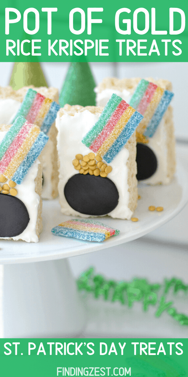 Pot of Gold Rice Krispie Treats are a fun and colorful way to celebrate St. Patrick's Day with kids! This no bake treat focusing on decorating, making it a great option for a St. Patrick's Day activity!