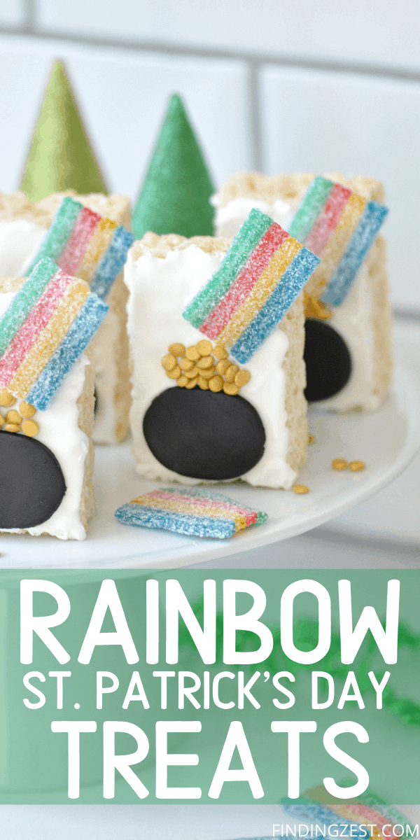 Pot of Gold Rainbow Rice Krispie Treats are the fun St. Patrick's Day Dessert that focuses on the decorating. No baking is required, making it an easy treat, perfect for classrooms or parties.