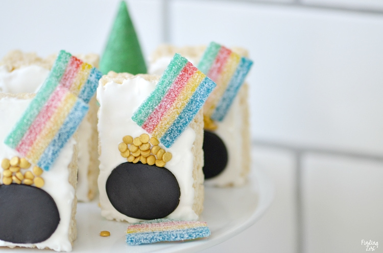 St. Patrick's Day food ideas for kids: Pot of Gold with Rainbow Rice Krispie Treats
