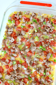 Close up of breakfast casserole with hash browns and sausage
