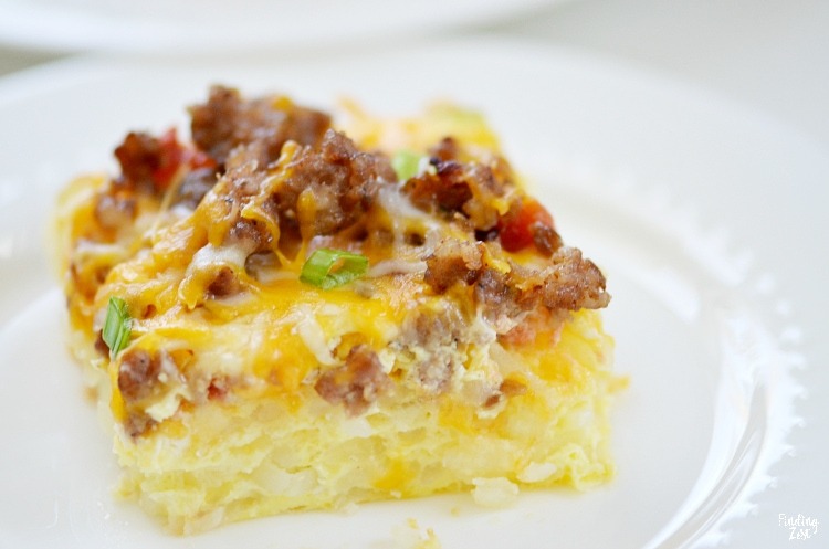Close up of easy hash brown casserole on a plate
