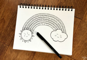 Hand drawn rainbow with sun and cloud coloring page