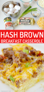 Hash brown breakfast casserole has never been more flavorful than this hearty option! Feed a crowd with this easy sausage hash brown casserole guaranteed to please. Features bulk sausage, fresh hash browns, eggs, Rotel and shredded cheese! What is not to love?