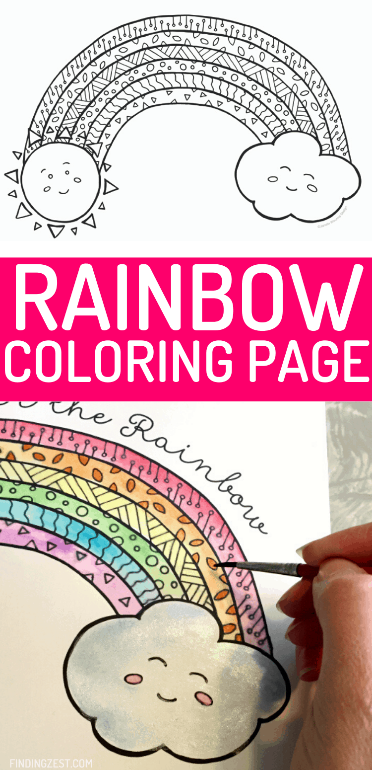 Rainbow Coloring Pages have never looked so cute with this fun hand-drawn art. Kids will love to color or paint with watercolor this Somewhere Over the Rainbow free printable featuring a happy sun and cloud!