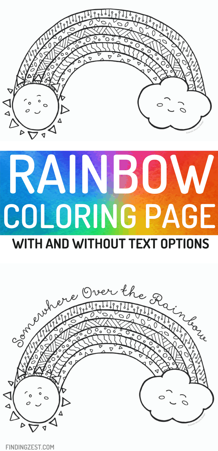 Rainbow coloring pages are a fun kids activity that can be colored in or painted with watercolors. Two options are available for free download. Choose between a Somewhere Over the Rainbow text and or opt for the one without text.