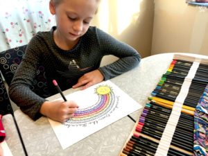 Kid Activity Coloring Page with Rainbow