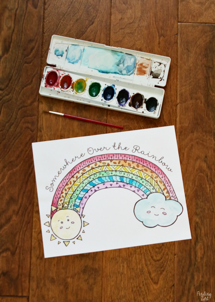 Rainbow Coloring Page free printable for download.