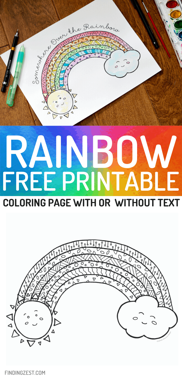 This Rainbow coloring page free printable is a great kid's activity. Fight boredom with this fun rainbow free printable that they color or paint with watercolors. Works great to display as art!