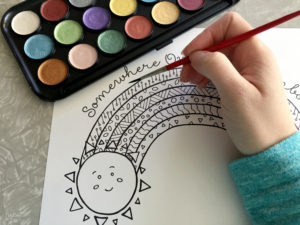 Adding watercolors to rainbow coloring page