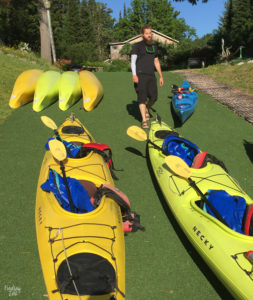 Kayaks lined up for Tour in Apostle Islands