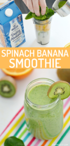 This Spinach Banana Smoothie Recipe is a tasty way to start your day! Loaded with fresh or frozen fruit, this green smoothie is delicious and easy!