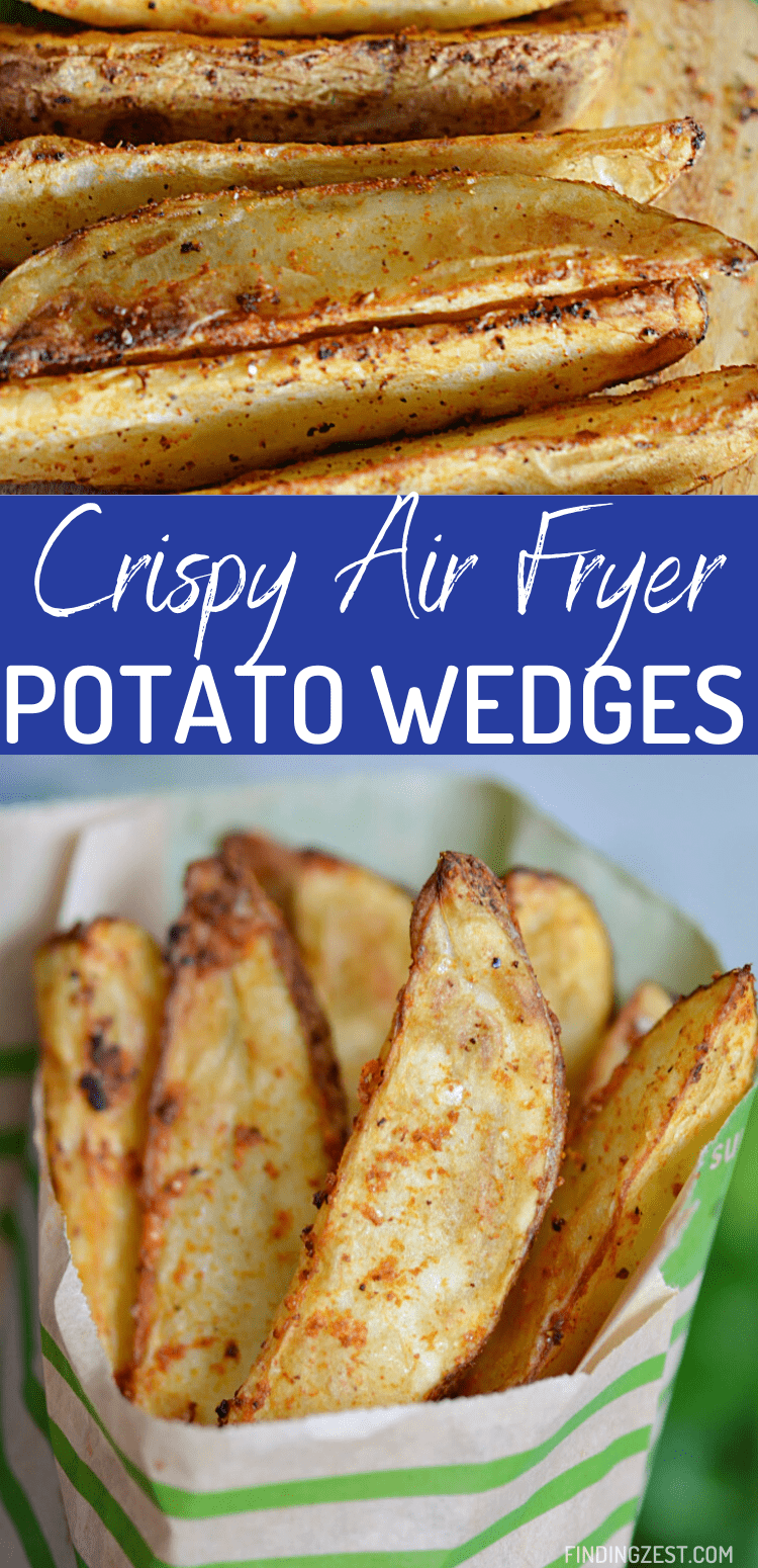 Air fryer potatoes have never been easier with this potato wedges recipe! Only 15 minutes are needed to take a simple russet potato into something special. So crispy and delicious. Dip these potatoes in ketchup or your favorite sauces!