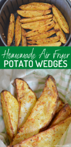 Homemade potato wedges have never been easier with this air fryer potato recipe! The results are amazing and crispy and only a few ingredients are required. Serve it on game day or as a new favorite side dish.