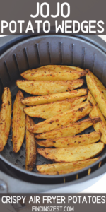 Air fryer potato wedges are quick and easy to make with just a few pantry items! Combine two russet potatoes with just a few spices and oi