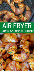 Air Fryer Bacon Wrapped Shrimp - This amazing shrimp made in the air fryer is a delicious combination!  Serve with your favorite dipping sauces for a killer appetizer or game day snack! This non-spicy shrimp is really a hit with the crowd!