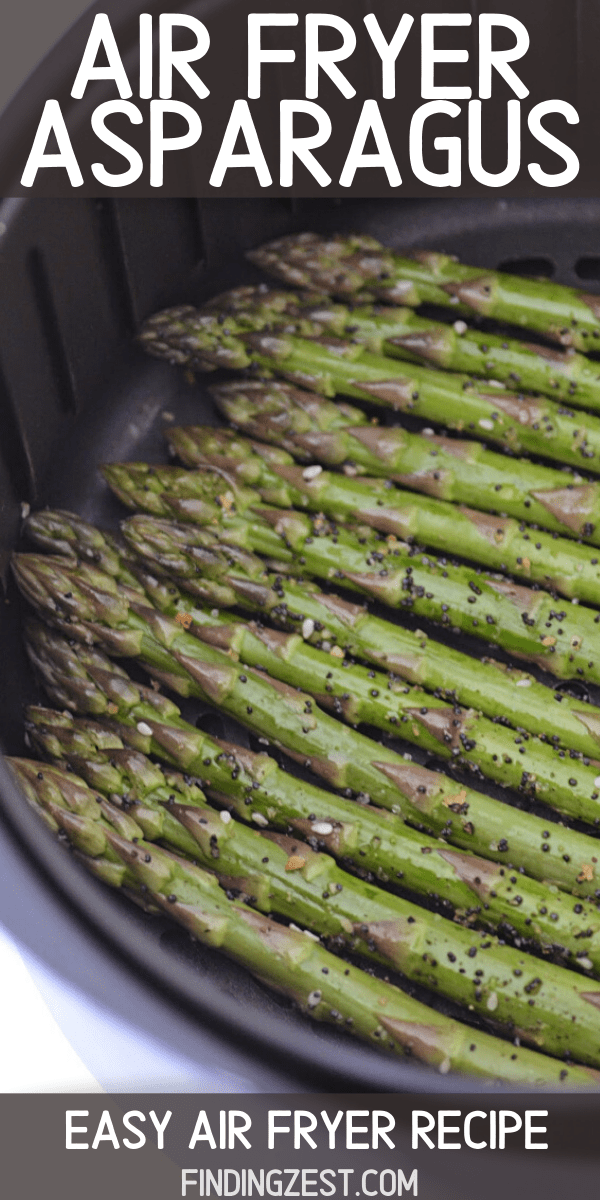 Air Fryer Asparagus is the easiest side dish, year round! Skip turning on the oven and enjoy that roasted flavor in your air fryer! This asparagus recipe is sure to be a hit at dinner!