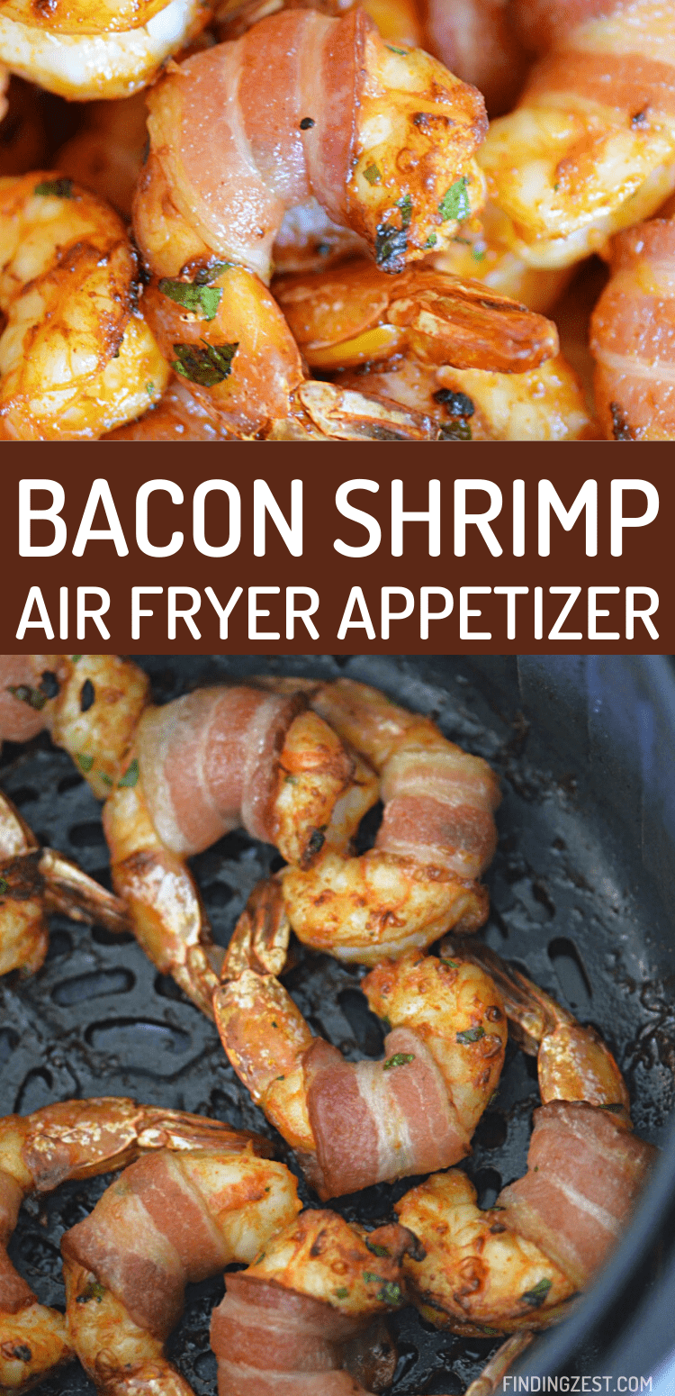 This bacon wrapped shrimp is made in the air fryer and tastes amazing! Loaded with flavor, but not spicy, this garlic shrimp is going to be your new favorite appetizer option! Serve it up at your next party, tailgating at home snack or as a special meal idea.