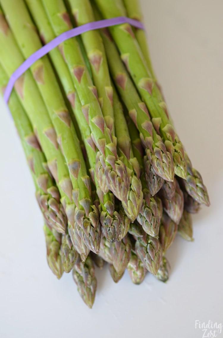 Closeup of a bundle of asparagus from Michigan