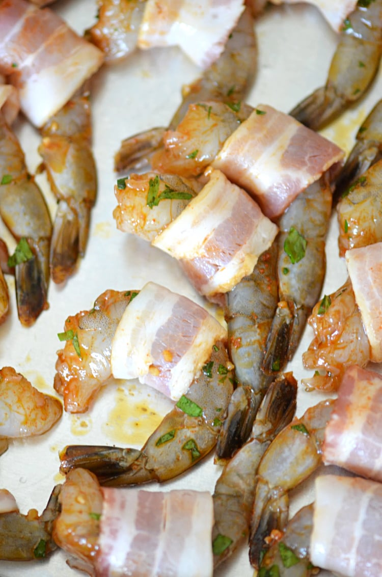 Shrimp Wrapped in Bacon on Baking Tray