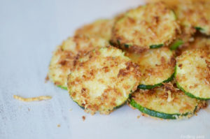 Breaded air fried zucchini chips
