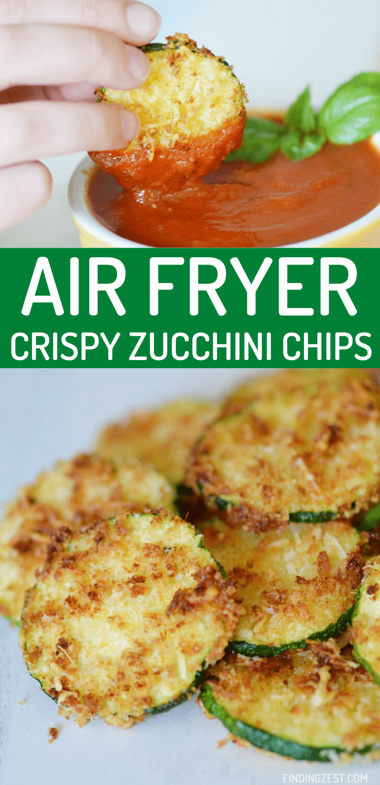 Air Fryer Zucchini Chips are a super easy appetizer or snack! These zucchini chips are dipped in bread crumbs, Parmesan and seasonings for an amazing crunch! Dip in your favorite sauces such as marina for a killer combo.