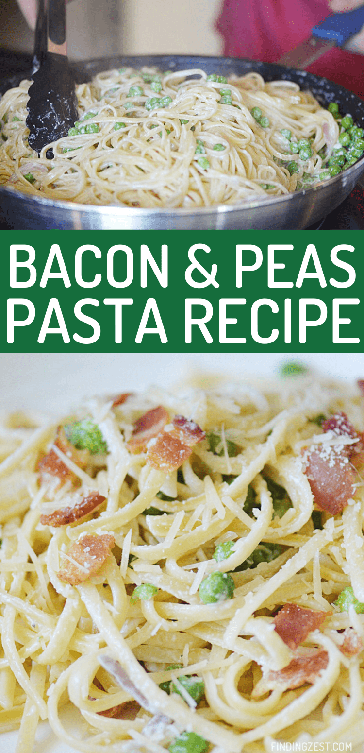 Bacon Pea Pasta is a winning dinner recipe that the whole family will love! Simple and delicious, this linguine pasta dish featuring bacon, peas, garlic in a white sauce is sure to become a new favorite!