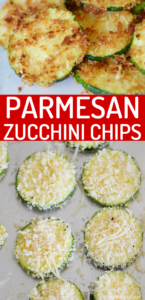 Crispy Parmesan Zucchini Chips are the snack you didn't know you were missing! These crunch chips taste amazing fresh out of the air fryer and dipped in marinara. Great way to use up that zucchini