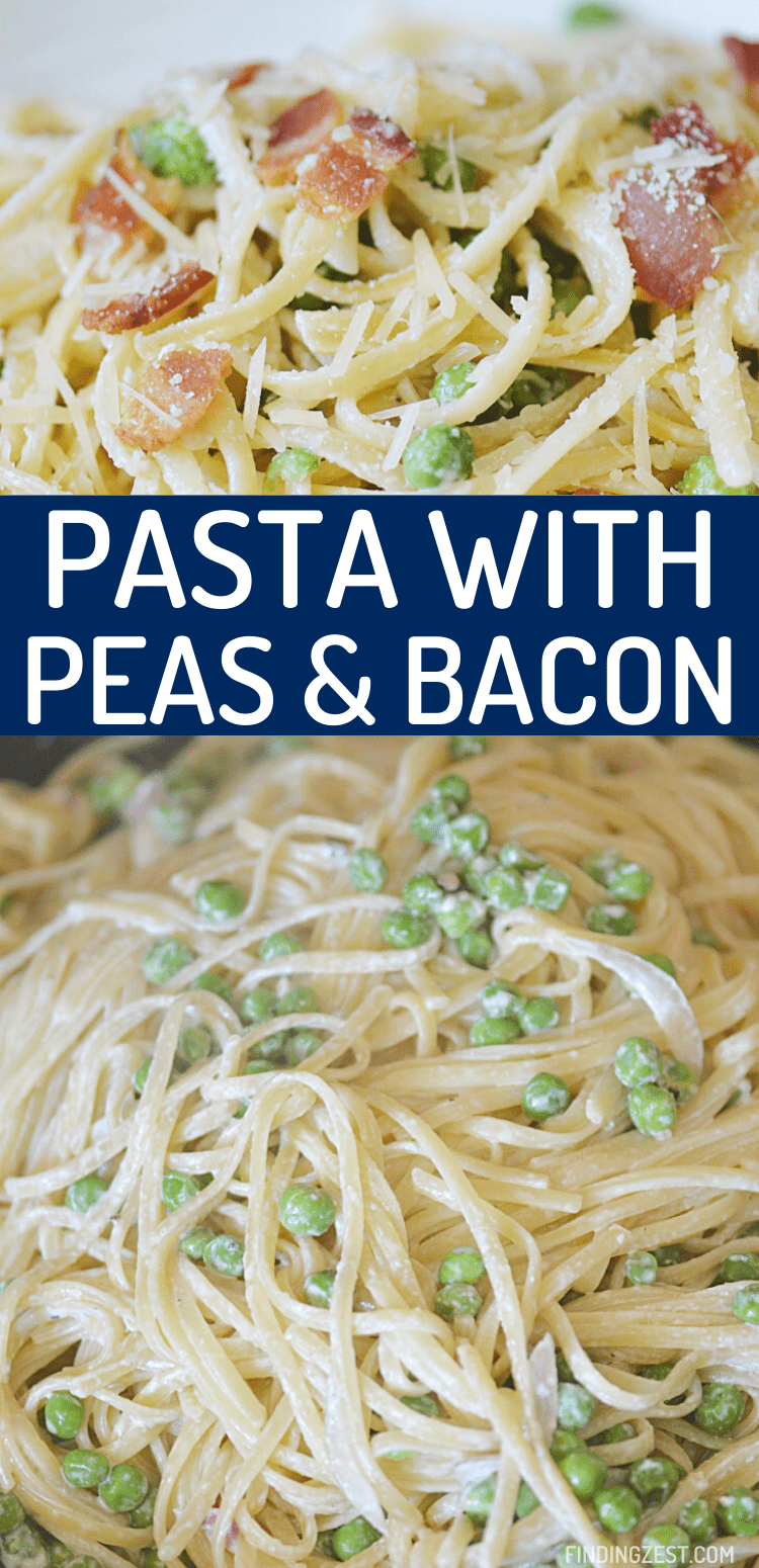 Pasta with peas and bacon? Yes, please! Whip up dinner in a snap with this amazing pasta recipe featuring just a few simple ingredients that really pack a flavor punch!