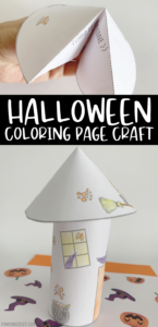 Halloween coloring pages come to life with this cute witch paper craft! Kids can color then cut to create their own 3-D haunted house! Add a flameless LED tealight candle and holes at the top to turn it into a paper luminary, perfect to add to your Halloween decor!