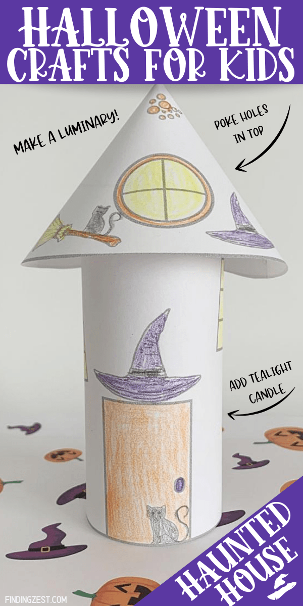 Halloween crafts for kids don't get easier than this free printable! Turn these witch coloring pages into a 3-D haunted house with a simple cut, fold and tape. Poke holes in the top and add a LED tealight candle to make it a luminary!