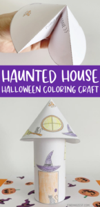 Free Halloween printable featuring a haunted house with a witch theme! Turn simple coloring pages into a 3-D haunted house that kids can display as part of their Halloween decor! Take it to another level by adding a LED tealight candle to make a luminary!