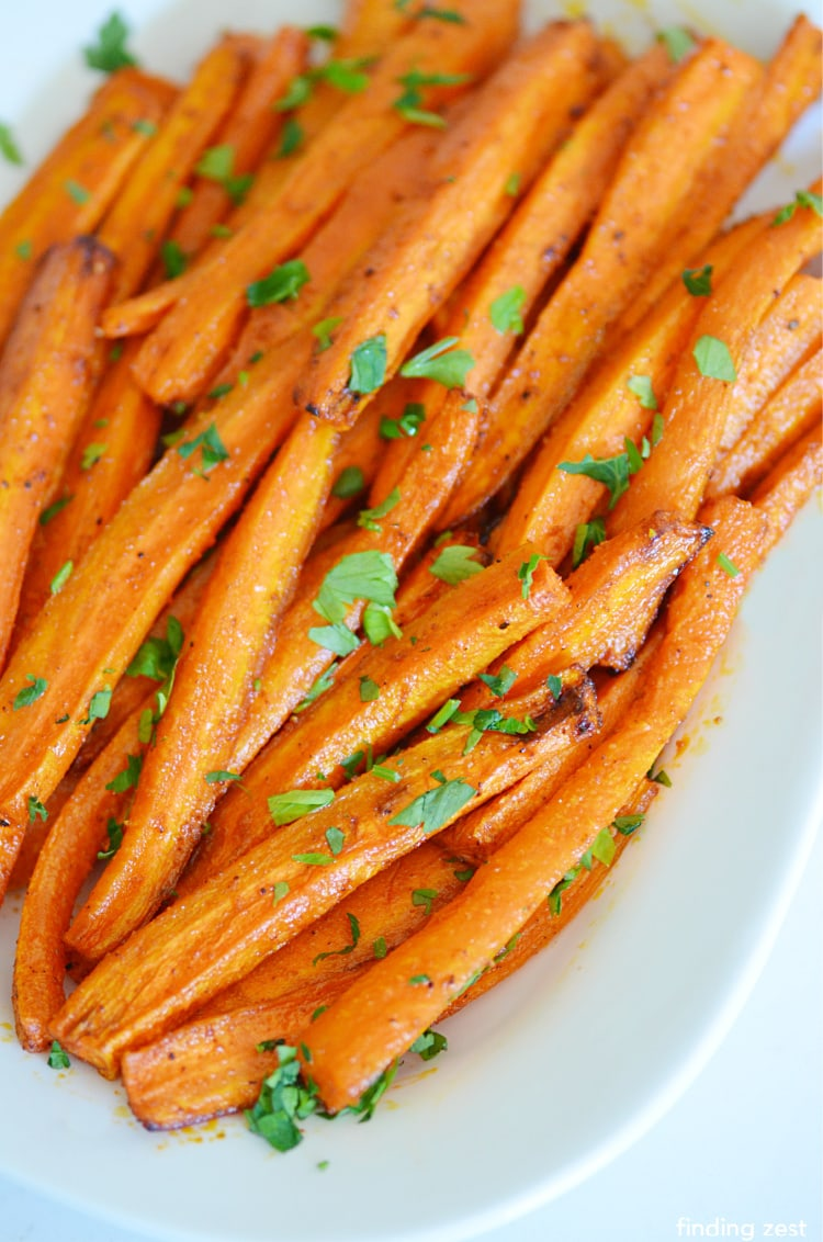 Roasted Air Fryer Carrots with chopped parsley garnish