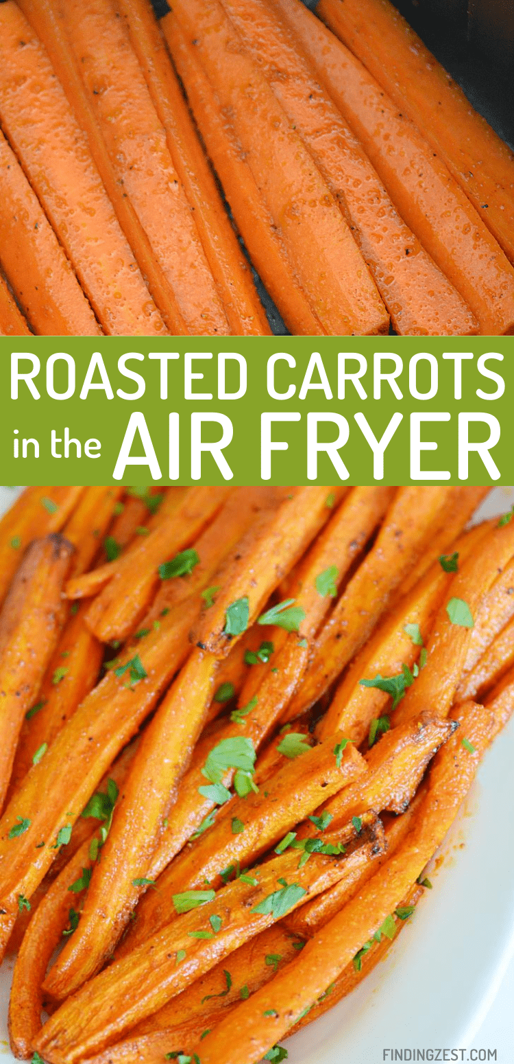 Roasted Carrots in the air fryer are the quick and easy way to make a delicious side dish for your family! Whether you serve these air fryer carrots up for a holiday dinner or for every day, they are sure to be a hit!