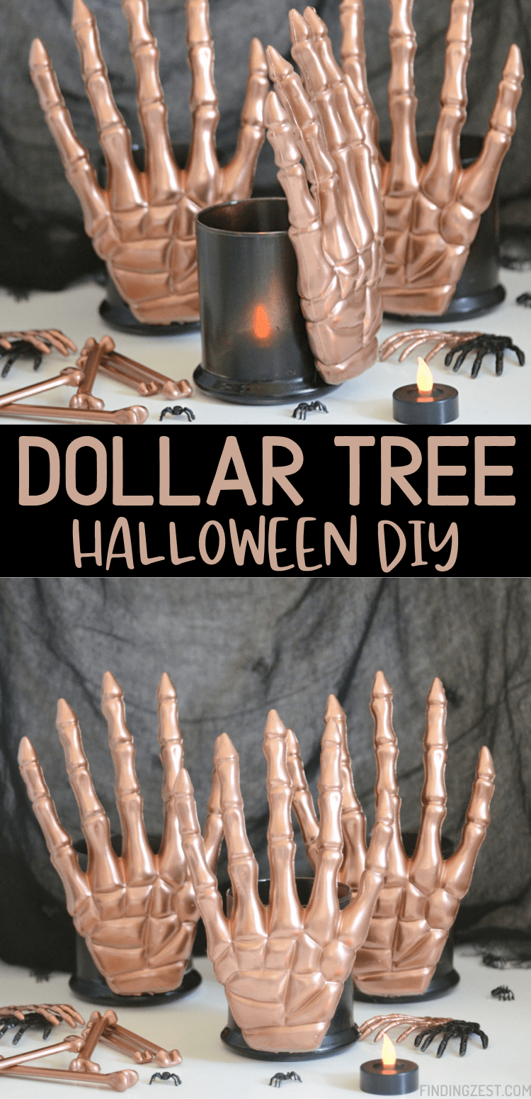 DIY Halloween Decorations are affordable with some creativity! Using decorations from the Dollar Tree, these skeleton hands candle holders are a spooky and modern way to decorate for Halloween!