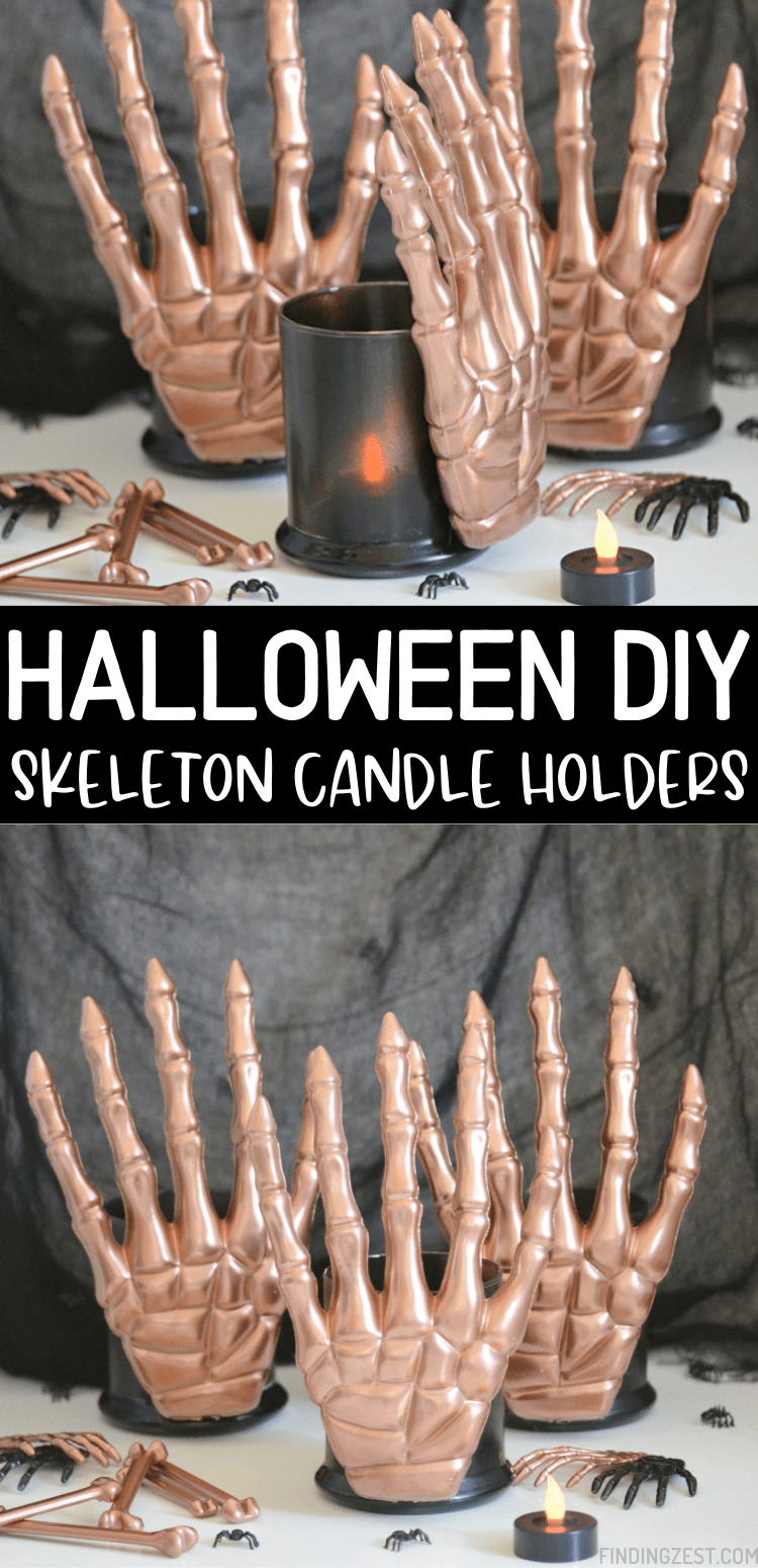These Skeleton Candle Holders are the ultimate Dollar Tree Halloween DIY.  With just a couple of items from the dollar store and some spray paint, you can make modern Halloween decor in whatever color combination you like!