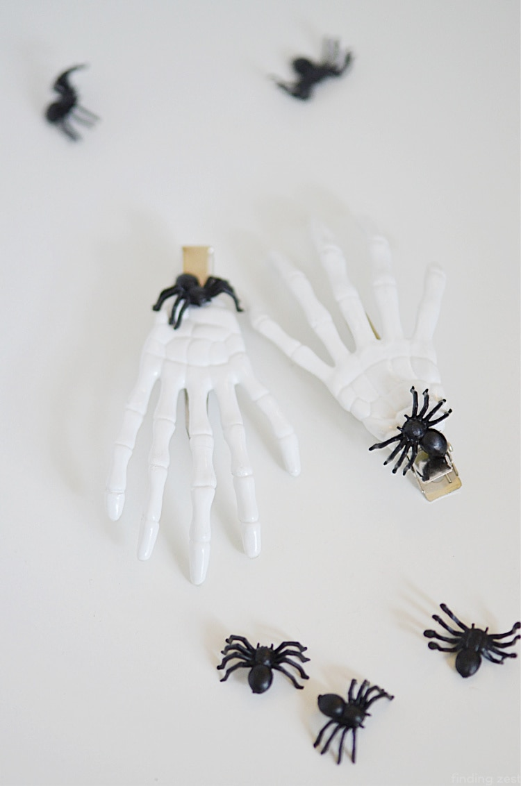 Halloween Hair Clips with Skeleton hands and black spiders