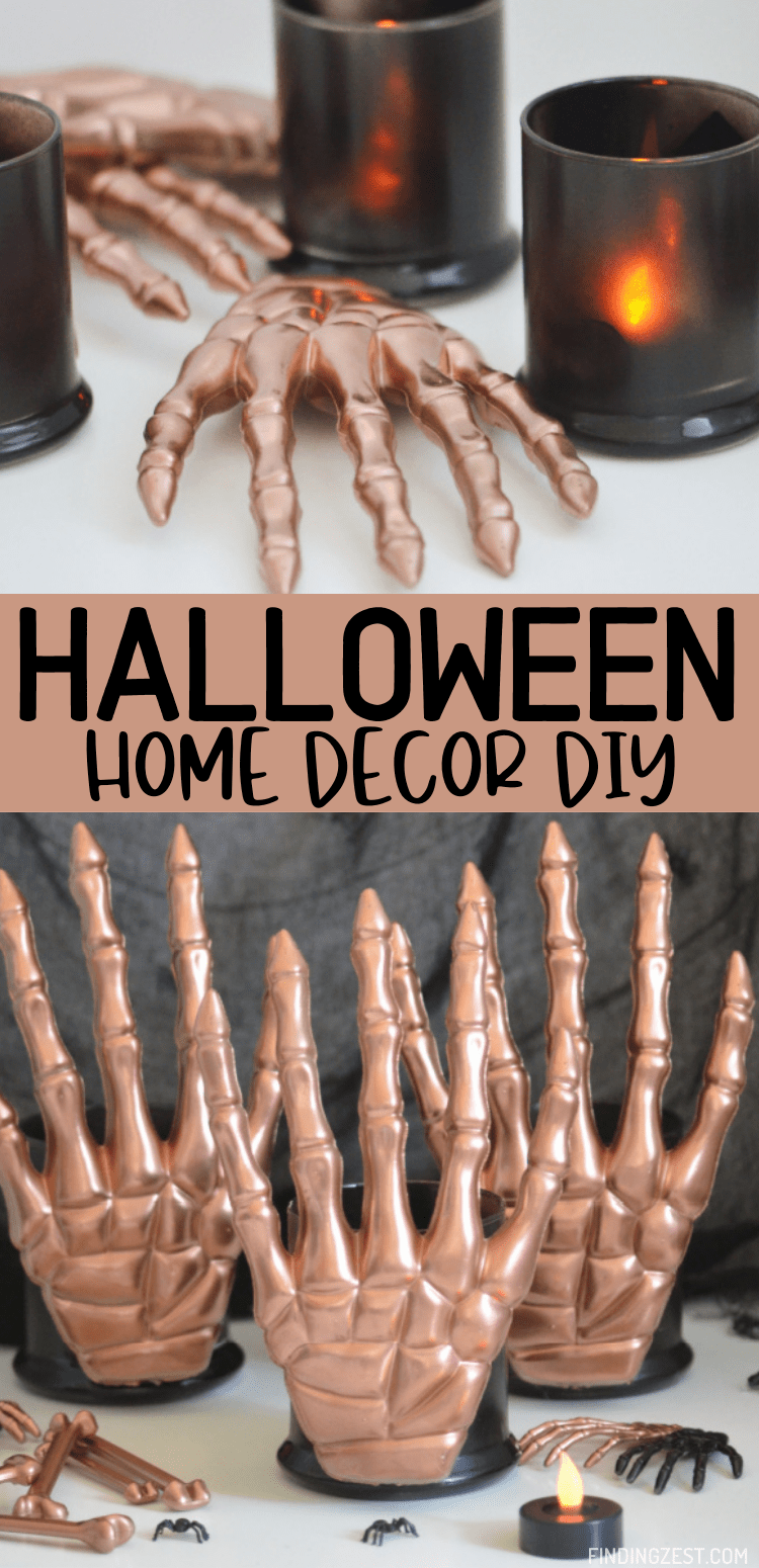 DIY Halloween Home Decor can be affordable with some creativity! Using decorations from the Dollar Tree, these skeleton hands candle holders are a spooky and modern way to decorate for Halloween!