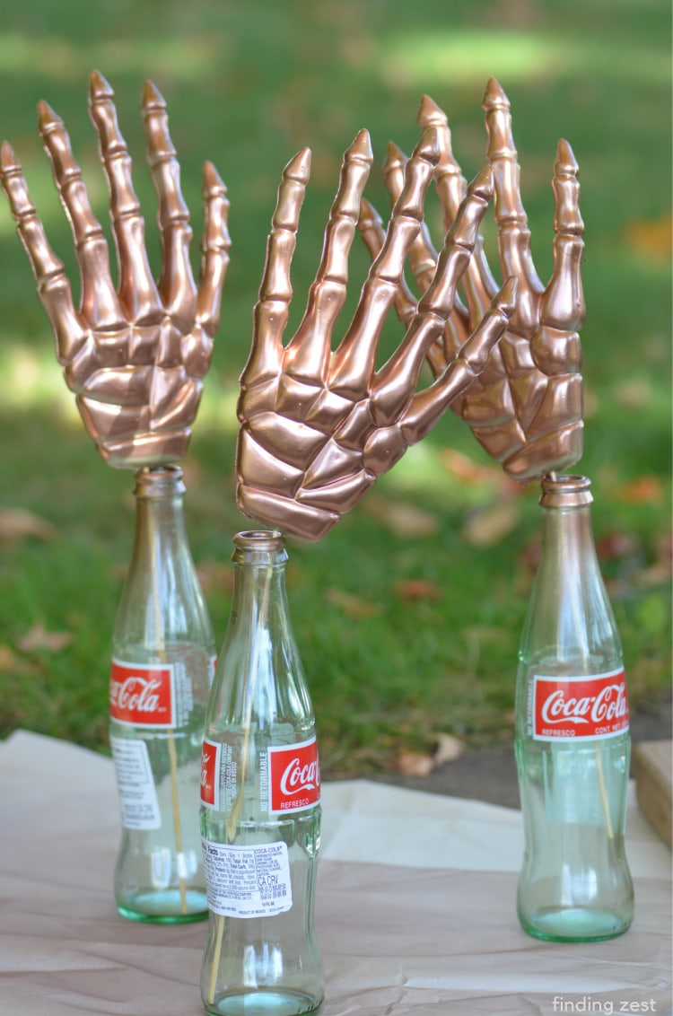 How to spray paint plastic skeleteon hands from the dollar store a metallic copper color