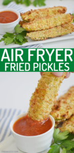 Air Fryer Fried Pickles are an easy snack or appetizer. Whether you serve them up for your next get together, holiday celebration or game day snack, you'll love these fried pickles in the air fryer which make them nice and crispy!