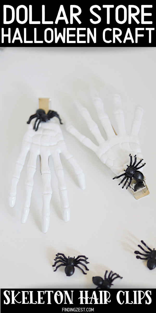This dollar store Halloween Craft is a fun way to make your hair spooky to celebrate! These skeleton hands hair clips are easy to make in bulk for a party favor or in multiple colors using skeleton hands from Dollar Tree!