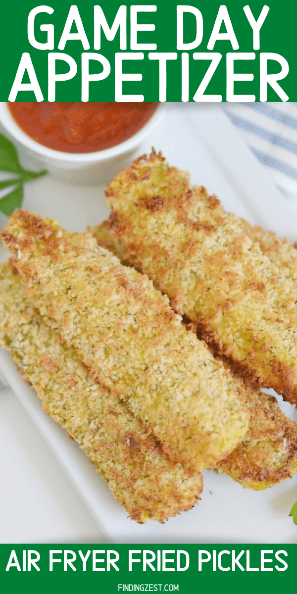 Air Fryer Pickles are the appetizer or game day snack you didn't know you were missing! These crispy pickle spears are great for dipping in your favorite sauces including marinara or ranch dressing. Give them a try!