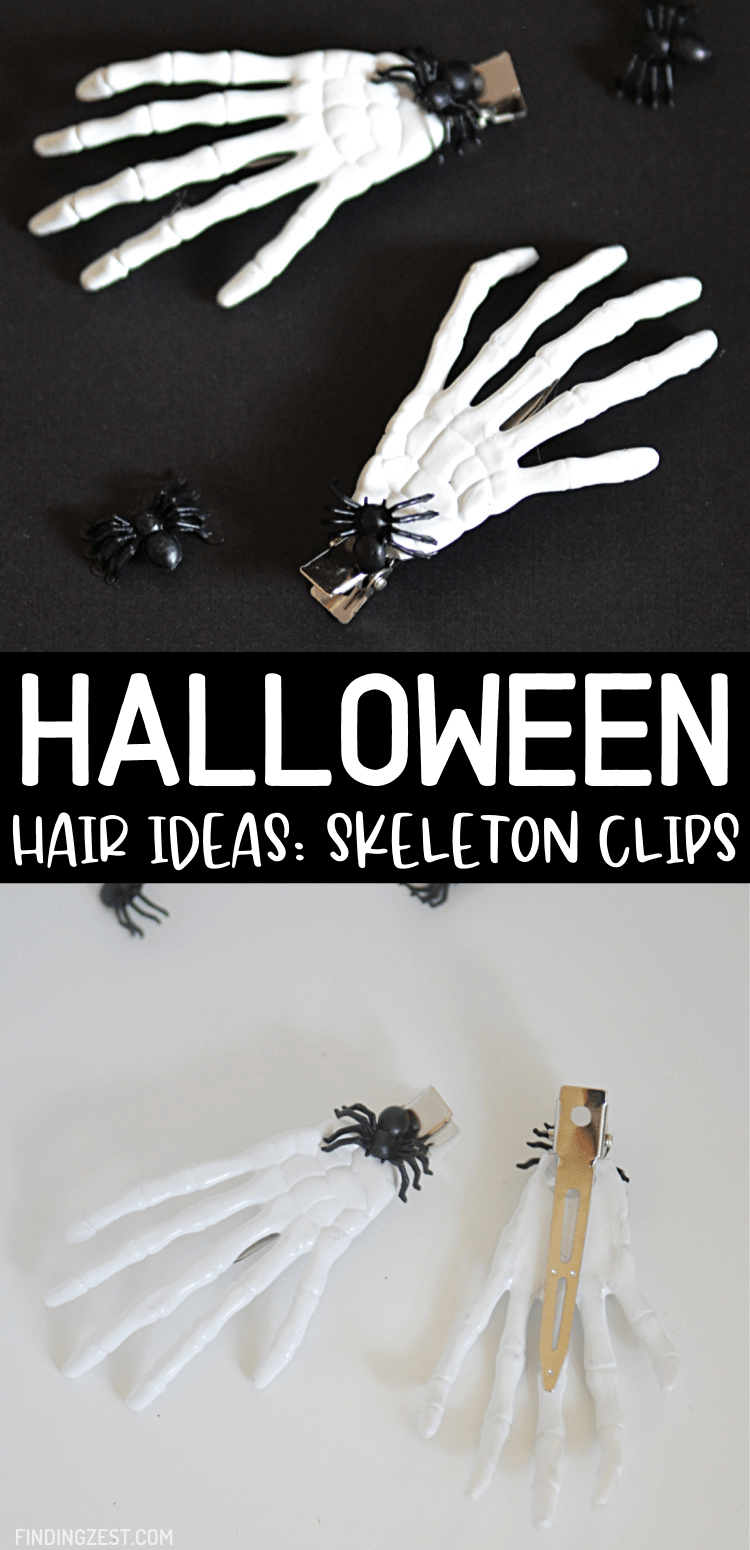Looking for Halloween hair ideas? Just a few supplies are need to these spooky skeleton hair clips for Halloween using dollar store items! Show off some spooky hair with this simple hair barrettes or clips you can make using your favorite colors.