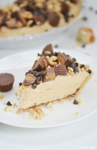 No Bake Peanut Butter pie is a rich and decadent masterpiece, especially when loaded up with peanut butter cups, chopped peanuts and mini chocolate chips. Absolutely sinful and hard to resist!